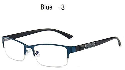 Boner Bijziendheid Bril Heren Retro Metalen Frame Vierkante Studenten Bijziendheid Brilmontuur Dames, blauw -3