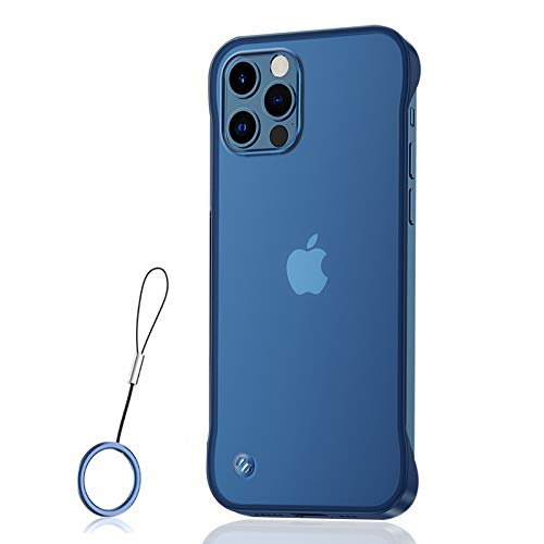 ASONRL Slim Case Compatible with iPhone 12 Mini 5.4 inch, Ultra Thin Frameless Matte Hard PC Shock Absorption TPU Bumper with Non-Slip Rope Pull Ring Case - Blue