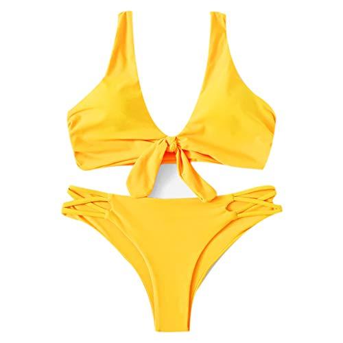 Lazzboy Frauen Drucken Tube Bis Zwei Stück Bikini Push-up Badeanzug Bademode Beachwear Damen Gepolsterte Set, Einfarbige Verknotete Niedrige Taille Tanga Sommer(Gelb,M)