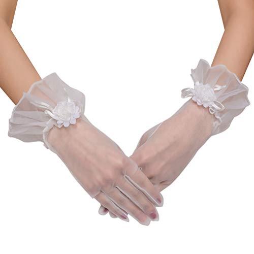 PRETYZOOM 1 Paar Hochzeit Braut Handschuhe Blume Gaze Handschuhe Kurze Braut Handschuhe Tee Party Handschuhe für Frauen Verlobung Jubiläum Party Lieferungen (Weiß)