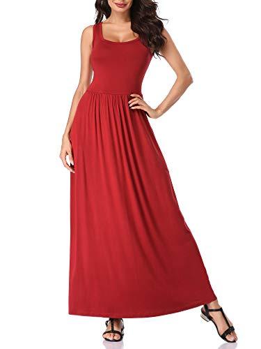 MSBASIC Long Flowy Dress Red Dresses for Women Wine XL