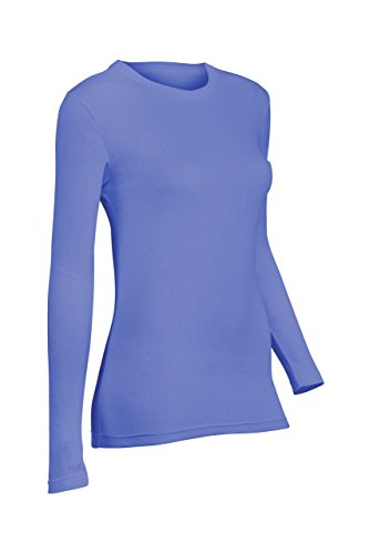Indera Women's Pointelle Crew Top, Periwinkle, Large 180LS