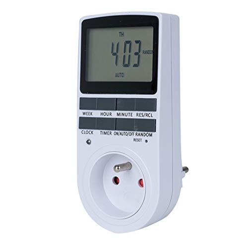 Allayu Interruptor Temporizador Digital Enchufe Temporizador de Cocina Toma de 230 V 50 HZ 12/24 Horas programable sincronización del Enchufe del zócalo estándar de la UE Francia