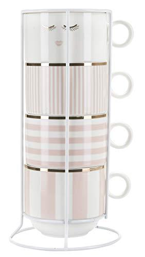 Miss Etoile 4 Kaffeetassen Stapeltassen für Kaffe Rosa Weiß mit Ständer Kaffee-Tassen Cappuccinotassen Cappuccino-Tassen 300ml Knochenporzellan Kaffeebecher Kaffee-Becher Stapelbar