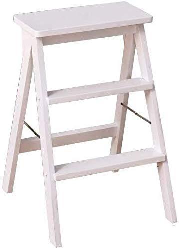 AISHANG Escalera plegable de 3 pasos - Silla de escalera de madera maciza Interior creativo Multiusos Diario (color: B)