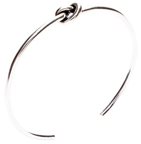 Happiness Boutique Damen Knotenarmband in Silber | Cuff Armband mit Knoten Design Minimalistischer Schmuck nickelfrei