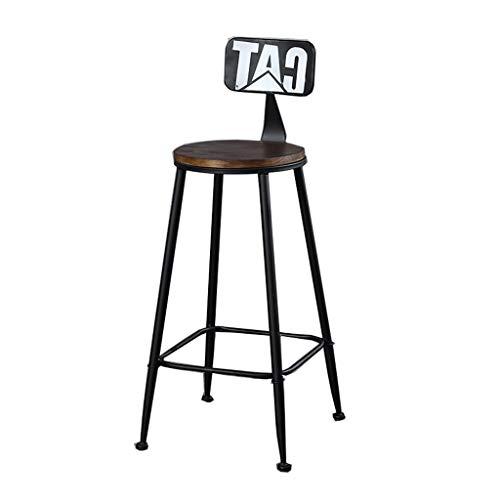 LAXF-taburetes altos cocina sillón Taburete de hierro americano del loft Taburete de bar Taburete de bar Silla de madera maciza Banco de alto Silla minimalista moderna Cocina Taburete alto Silla | Neg