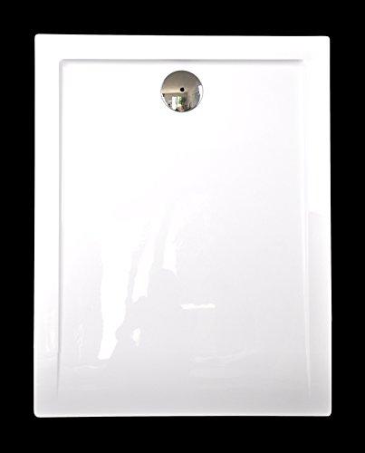 Superflache Duschwanne Duschtasse 80 x 100 cm Komplettes Set aus Acryl Hochglanz weiß Rechteckig Höhe 3,5 cm inkl. Ablaufgarnitur