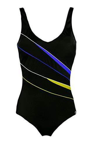 Fashy Badeanzug mit Soft-Cups 46D Schwarz-Blau-Grün (50)