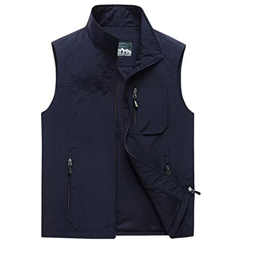 HSF 2019 Neue Freizeitweste Herren Sommer dünne Mehrfachtasche einfarbig ärmellose Jacke Herren extra-schnell trocknende Weste Westen (Color : Dark Blue, Size : 4XL)