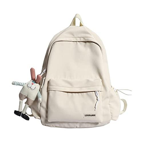 Travel Kawaii Harajuku Backpack Female Cute Bag Fashion Lady Waterproof Backpack Laptop Girls Student College Trendy School Bags-white-No rabbit doll