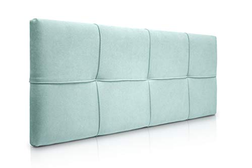 SUENOSZZZ-ESPECIALISTAS DEL DESCANSO Cabecero de Cama tapizado, Modelo Square para Camas de 150 (160 x 57 cm) Tela Verde Agua