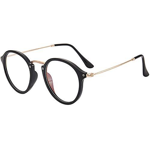 Gafas de Sol Sunglasses Gafas De Sol Retro De Metal para Hombre, Anteojos De Diseñador para Hombre/Mujer, Anteojos Vintage para Hombre, Lujo Femenino, Negro-TAnti-UV