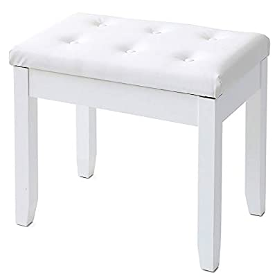 IWELL Piano Bench with Solid Wood Leg, Keyboard Bench Stool with Large Music Storage, Thick Padded Leather Cushion Chair, Capacity 330LBS, White SZD005B