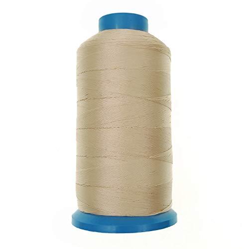 JZK 1500 yardas T70 69# beige fuerte resistente hilo de coser de nylon unido para tapicería de cuero jeans lona alfombra cortina de cuentas para máquina industrial, overlock, costura a mano