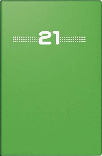 rido/idé 7015202011 Taschenkalender partner/Industrie I, 2 Seiten = 1 Woche, 72 x 112 mm, Kunststoff-Einband grün, Kalendarium 2021