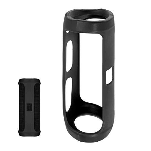 LinkIdea Funda de silicona para JBL Flip 4 impermeable portátil Bluetooth Speake, Flip4 JBL Funda de silicona con llavero, funda protectora portátil de viaje portátil (negro)