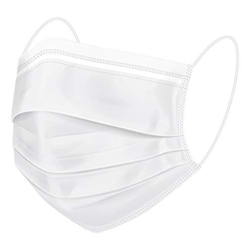 50 Masken 3-lagig Einweg Maske Mund/Nasenbedeckung Behelfsmaske Mundbedeckung Hygienemaske Weiß 3