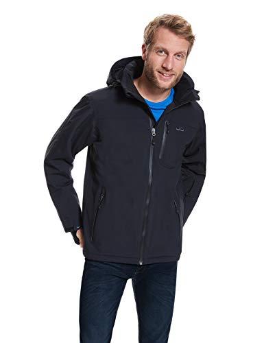 Jeff Green Herren Atmungsaktive wasserdichte Winter Ski Snowboard Jacke Bergen 12.000mm Wassersäule und Abnehmbare Kapuze, Größe - Herren:L, Farbe:Black