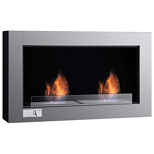COSTWAY Chimenea Etanol de Pared Chimenea de Bioetanol Acero Inoxidable y Hierro (Modelo 1 (950 x 540 mm))