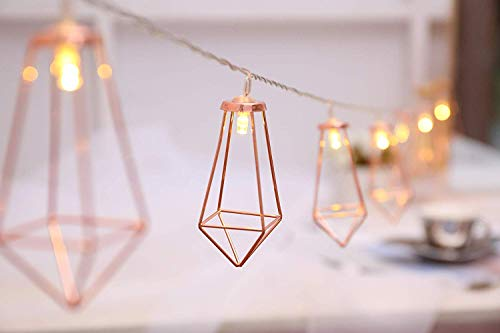 10 LED Geometric Diamond String Lights, 5ft Rose Gold Metal Lamps Copper Wire Fairy String Lights Battery Operated Decor for Chirstmas Wedding Garden Home Deco (Warm White)