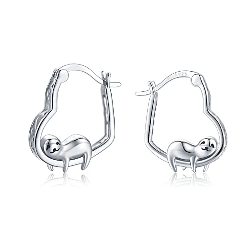 Pendientes de aro con forma de corazón perezoso para mujeres y niñas de plata de ley 925 con bonito diseño de animales con caja de regalo