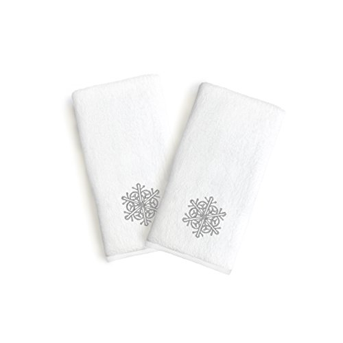 Linum Home Textiles Essuie-Mains Gris Flocon de Neige (Lot de 2), Gris
