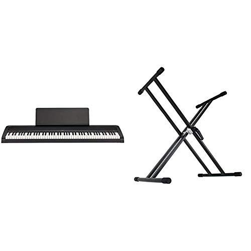 【セット買い】KORG 電子ピアノ B2 BK 88鍵 ブラック ダンパーペダル、譜面立て付属 3か月無料オンラインピアノレッスン付 & Dicon Audio KS-020 Keyboard Stand X型キーボードスタンド ダブルレッグ