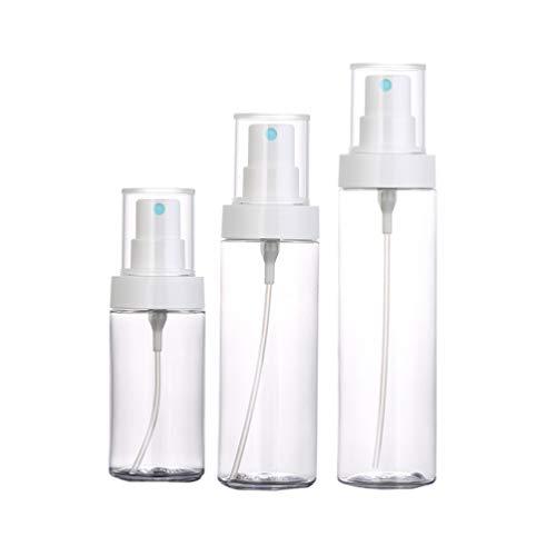 Minkissy 3Pcs Bouteilles de Pulvérisation en Plastique Transparent Contenants de Maquillage Rechargeables Portables pour Huile Essentielle de Parfum Liquide 80Ml 120Ml 150Ml
