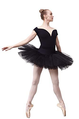 DANCEYOU Tutú Profesional con Tul de 7 Capas Falda Suelta Clásica de Ballet Vestido de Baile Blanco y Negro con Bragas para Niñas y Mujeres, Negro S