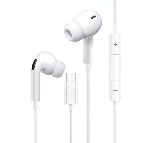 Auriculares USB Tipo C In-Ear Sonido Estéreo con Micrófono y Control de Volumen, Compatible con iPad Pro, Huawei P40/30/P20/Pro/Mate20/10, Samsung Note Series,Xiaomi Mi 5/6/8/9, Blanco