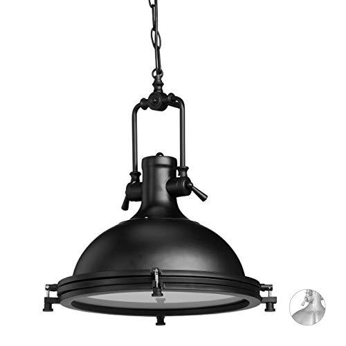 Relaxdays Industrie Hängelampe aus Eisen, geschlossene Pendelleuchte mit Milchglas, lackierte Wohnzimmerlampe, schwarz