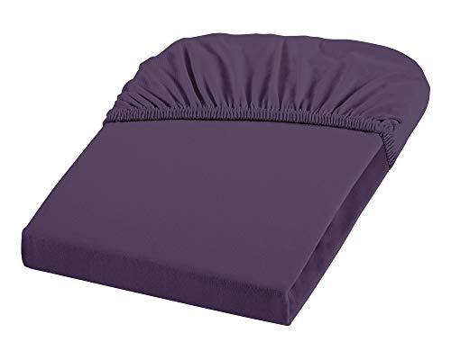 Dream Art 1123 Jersey Stretch Spannbetttuch (97 Prozent Baumwolle, 5 Prozent Elasthan), mit Rumdumgummizug, Ökotex 100, ideal für Matratzen bis 25 cm Höhe, 100 x 200 cm, lavendel