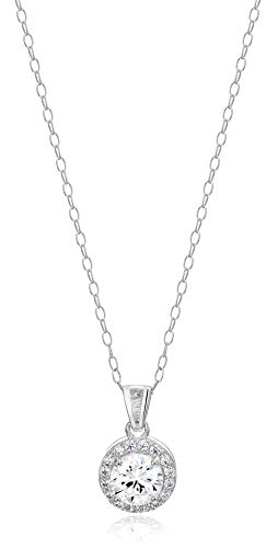 Amazon Essentials Sterling Silver Cubic Zirconia Round Halo Pendant Necklace