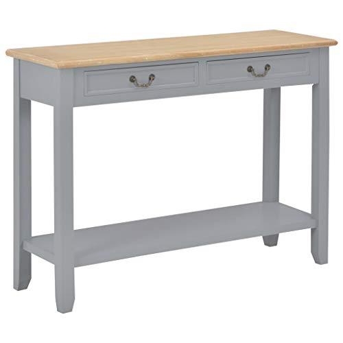 UnfadeMemory Konsolentisch Holz Konsole Beistelltisch Sideboard mit 2 Schubladen und 1 Ablagefläche für Flur Wohnzimmer Schlafzimmer 110 x 35 x 80 cm (Grau und Holzfarbe)