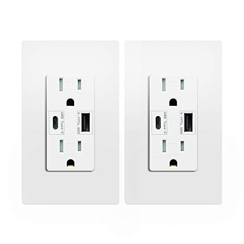 USB Type C Wall Outlet Dual High Speed Duplex Receptacle 15 Amp, Smart 4.8A Quick Charging Capability, Tamper Resistant Wall Plate Included UL Listed MICMI, Type C 2 pack