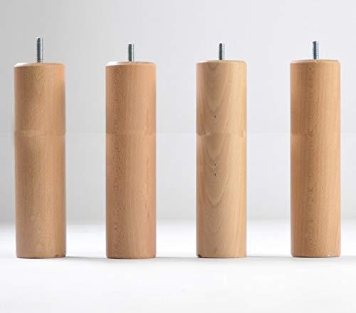 KOSMI - Lot de 4 Pieds de lit en bois à visser universel hauteur 35cm, diamètre 70mm, pas de vis M8