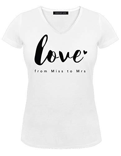 Constant Love Constant Love Damen T-Shirt Braut Love from Miss to Mrs Offwhite Warm Weiß Junggesellen Abschied Flitterwochen Hochzeit Standesamt Outfit, Offwhite, 40