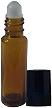 Perfume Studio Aromatherapy Amber Roll On Bottles, 10 ml (10, Amber Glass Plastic Ball)