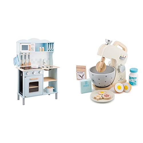 New Classic Toys 11065 Küchenzeile-Modern mit Kochfeld, Multi Color & 10707 Mixer mit Zubehör-Weiß, Weis
