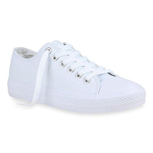 stiefelparadies Damen Sneakers Low Canvas Schuhe Turnschuhe Freizeit 157990 All Weiss Silber 38 Flandell