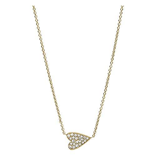 Fossil Vintage Motive - Halskette aus goldfarbenem Edelstahl mit Herzanhänger für Frauen JF03261710