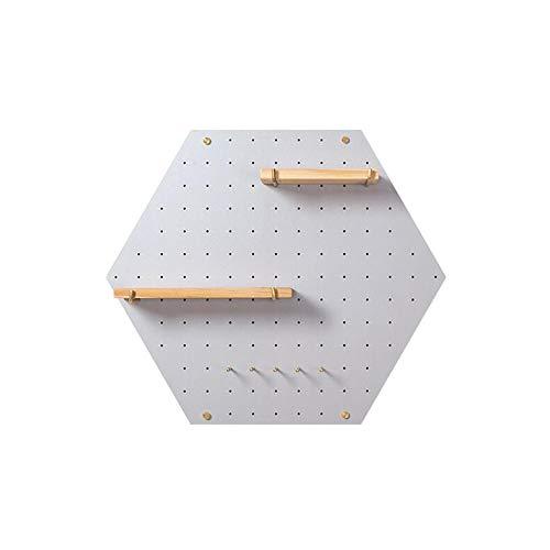 JCNFA Drijvende planken aan de muur gemonteerd hexagon wandplank houten gatenplank onregelmatige kader TV achtergrond wanddecoratie 60 * 52cm Light Gray