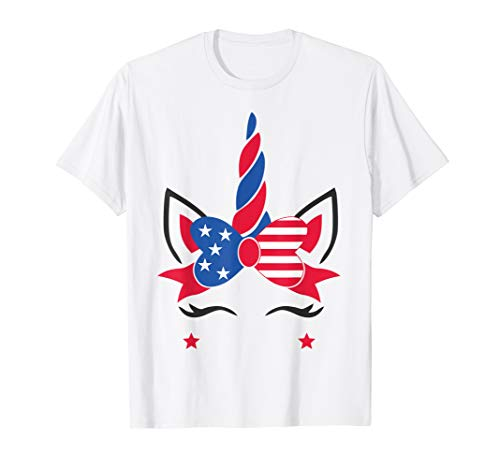 Unicorn Funny Cute American Flag 4th Of July Gift T-Shirt