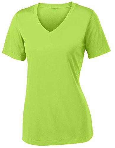 Opna Women's Short Sleeve Moisture Wicking Athletic Shirt, Large, Lime Shock