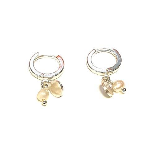 Disfraz RPS4005S – Pendientes de aro con disco y perla, chapados en plata