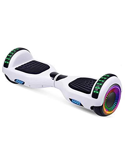 """ACBK - Hoverboard Patinete Eléctrico Autoequilibrio con Ruedas de 6.5"""" (Altavoces Bluetooth + Ruedas Led integradas + Bolsa Transporte) Velocidad máxima: 10-12 km/h - Autonomía 10-12 km (Blanco)"""