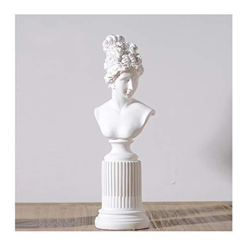 YIGEYI Moderne Simple Noir Et Blanc Dame Coupe De Cheveux Buste Portrait De Simulation Décoration Artisanat en Résine Sculptures Décoratives (Couleur : B)