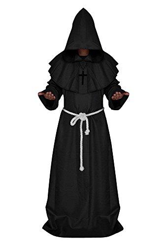 Mönchskutte Mittelalter Kutte Umhang Mantel mit Kordel u Kapuze Schwarz M