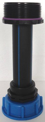 'cms60290r90 Tube d'écoulement avec tube plastique DN32, 100 mm AG 1 + manchon avec filetage Fein, IBC Adaptateur de réservoir d'eau de pluie de Accessoires de conteneurs Mamelon de Bidon